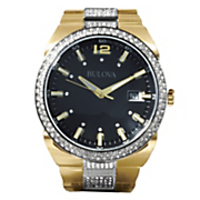 men s goldtone crystal bracelet watch by bulova