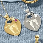 heart baby footprint birthstone pendant