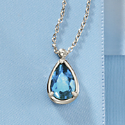 london blue topaz teardrop necklace