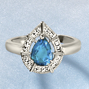 london blue topaz teardrop ring