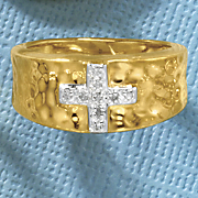 Diamond Cross Hammered Ring