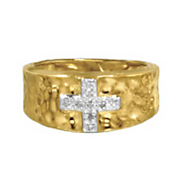 diamond cross hammered ring