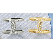 white topaz pave twisted open bar ring