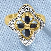 midnight blue sapphire open cross ring