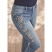 lacy embroidered jean