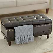 tufted nailhead storage bench