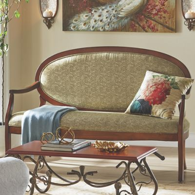 Wood Upholstered Oval Sofa