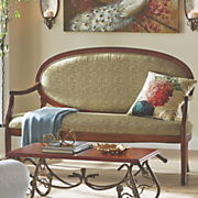 wood upholstered oval sofa