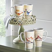 set of 4 bird mugs