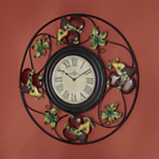oversized metal fruit clock