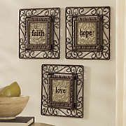 Set of 3 Faith, Hope, Love Plaques