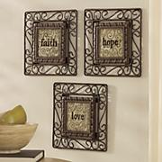 set of 3 faith  hope  love plaques