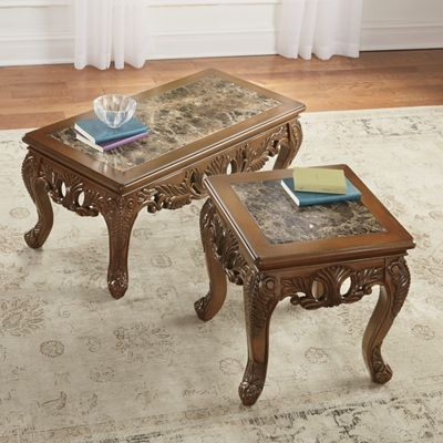 Handcarved Marble Coffee Table And End Table From Through The Country Door 732681