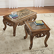 Handcarved Marble Coffee Table and End Table