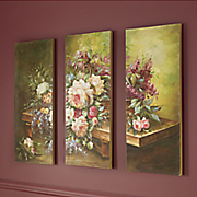 hand painted florals on bench triptych