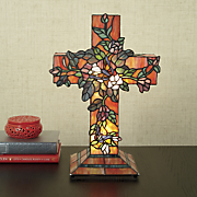 stained glass butterfly and cross lamp