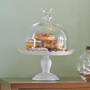 glass bird cake stand