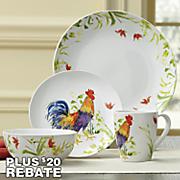16 pc  meadow rooster dinnerware set by bonjour