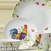 16-Piece Meadow Rooster Dinnerware Set by Bonjour