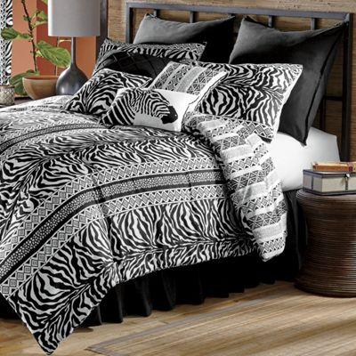 Zebra Chic Reversible Comforter Set, Shams, Pillows and Window Treatments