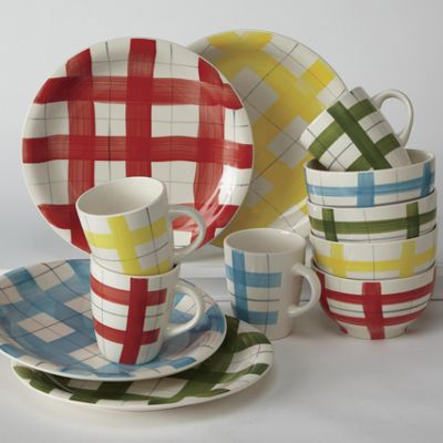 12-Piece Gingham Dinnerware