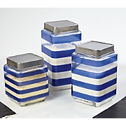 set of 3 stripe canisters