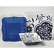 12-Piece Mosaic Melamine Dinnerware Set