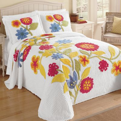 Spring Bloom Chenille Bedspread and Sham