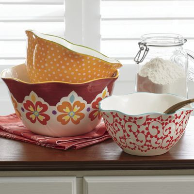 Set of 3 Ceramic Mixing Bowls by The Pioneer Woman