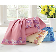 Embroidered Blossoms Microfiber Sheet Set