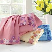 Embroidered Blossoms Microfiber Sheet Set