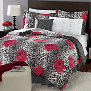 Roses Are Red Complete Bed Set, Decorative Pillow and Window Treatments