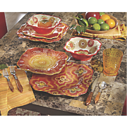 12-Piece Funky Rouge Floral Dinnerware Set