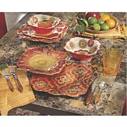 12-Piece Funky Rouge Floral Dinnerware Set