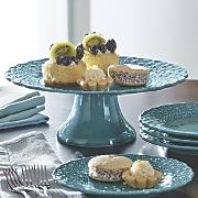 Large Floral Pedestal Cake Plate