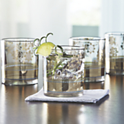 set of 4 metallic lace cocktail glasses