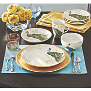 16 pc  serene peacock dinnerware set