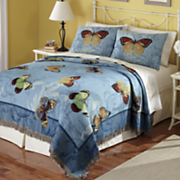 Butterfly Woven Tapestry Coverlet and Sham