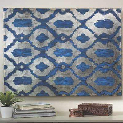 Ikat Hand-Painted Canvas Art