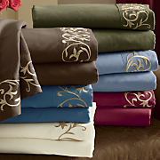 embroidered scroll microfiber sheet set