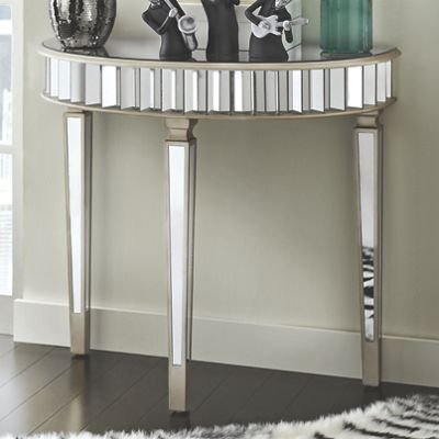 Mirrored Half-Round Table