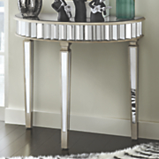 mirrored half round table