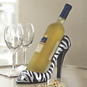 Silver Zebra Shoe Wine Bottle Holder