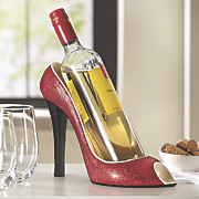 red shimmer shoe wine bottle holder