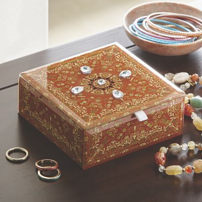 Decorative Jewelry Box with Faux Gemstones
