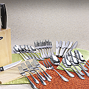 38-Piece Huxford Flatware, Knife and Cutting Board Set by Oster