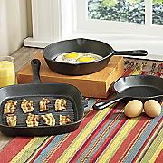 3-Piece Cast Iron Skillets and Grill/Fry Pan Set