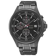 men s chrono stainless steel black watch by seiko