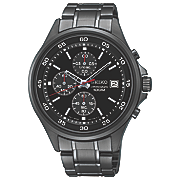 men s chrono stainless steel black watch by seiko