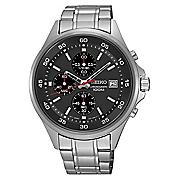 men s chrono stainless steel black bezel watch by seiko 4